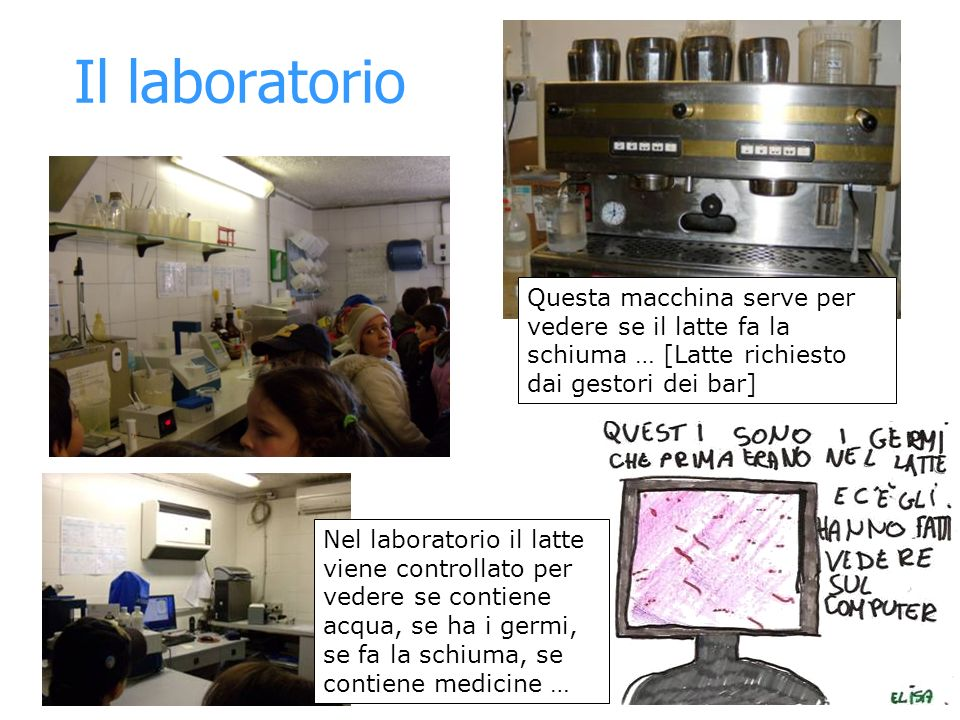 Il laboratorio Questa macchina serve per vedere se il latte fa la schiuma … [Latte richiesto dai gestori dei bar]